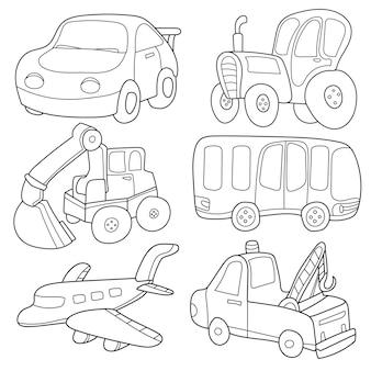 Cartoon-transport. malbuch. eine reihe von niedlichen sammlungen isoliert auf weißem hintergrund