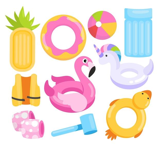 Cartoon unfähig schwimmender meeresstrand oder poolmatratze in ananasform, ball, niedliche spielzeugringe