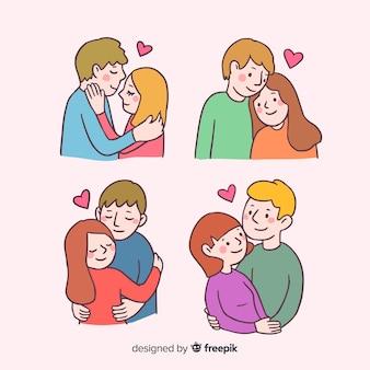 Cartoon valentinstag paar sammlung