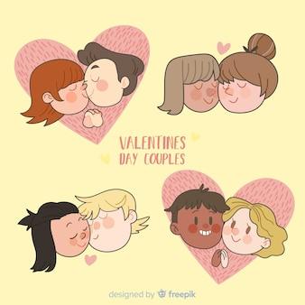 Cartoon valentinstag paar zu packen