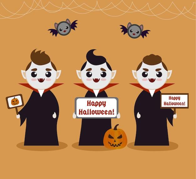 Cartoon vampire halloween-anzeigenvorlage