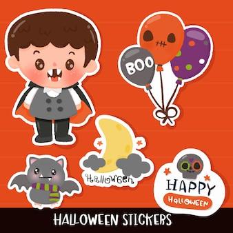 Cartoon vampirfledermaus halloween aufkleber kawaii illustration