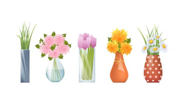 Cartoon-vasen und blumen