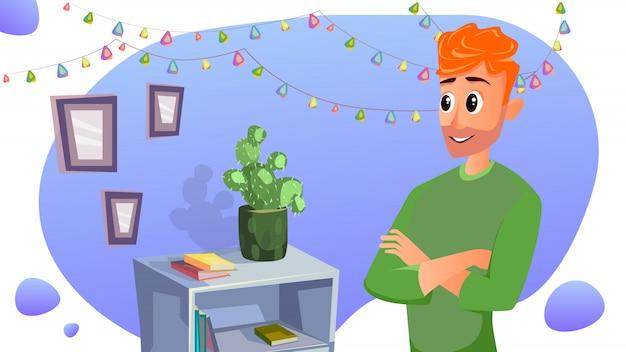 Cartoon vater hang light garland frames an der wand