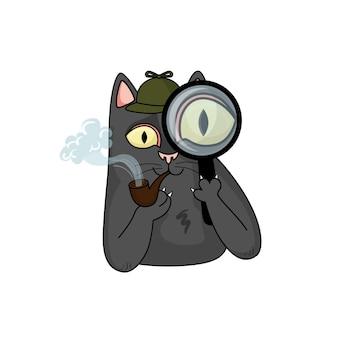 Cartoon-vektor-detektiv schwarze katze mit lupe und pfeife für tabak