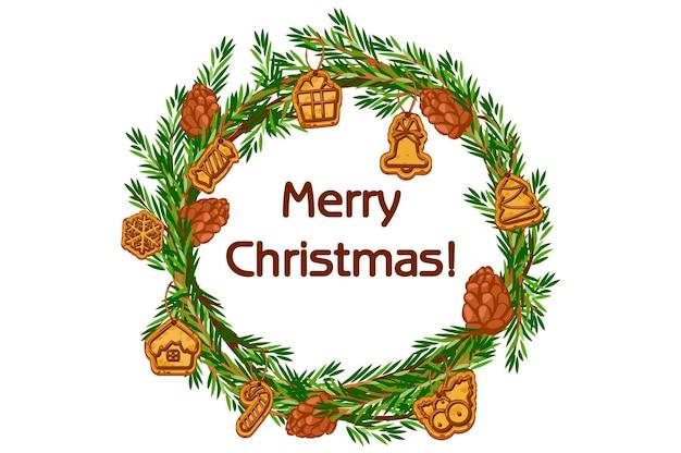 Cartoon-vektor frohe weihnachten kranz, fichte mit bigwigs und plätzchen