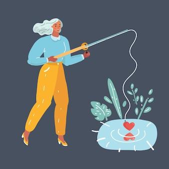 Cartoon-vektor-illustration der frau mit stange versuchen, liebe zu finden. lustige metapher. menschlicher charakter auf dunklem hintergrund.+