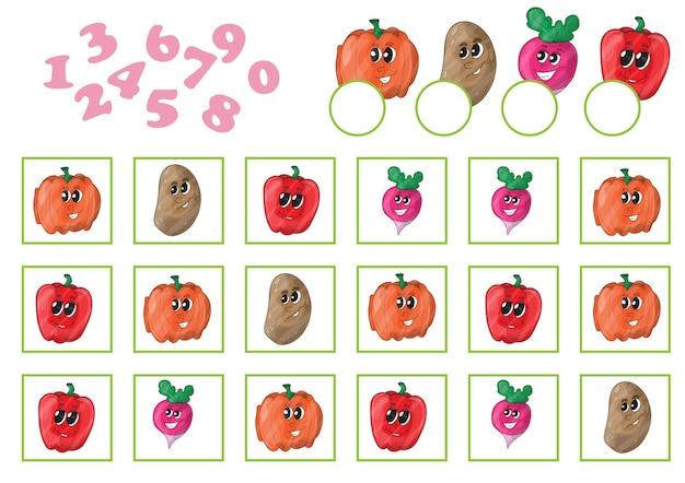 Cartoon-vektor-illustration des bildungs-zählspiels für kinder im vorschulalter