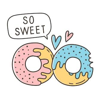 Cartoon-vektor-illustration-donuts