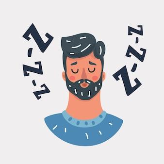 Cartoon-vektor-illustration von schläfrig schnarchenden mann.+