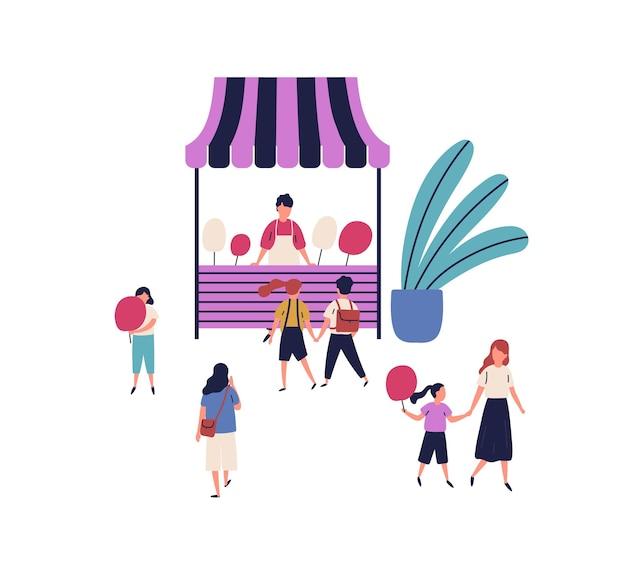 Cartoon-verkäufer von zuckerwatte-kiosk der straße mit familien und kindern isoliert auf weißem hintergrund. stand oder shop mit süße, umgeben von menschen, die spazieren gehen und köstliche flache vektorgrafiken kaufen.