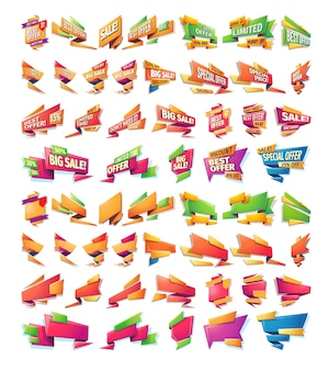 Cartoon-verkauf-banner, abzeichen, aufkleber, tags