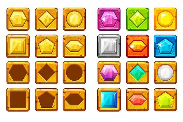 Cartoon verschieden geformte edelsteine, mehrfarbiger und goldener knopf für ui-spiel