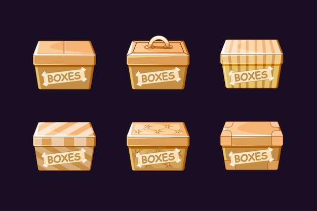 Cartoon verschiedene pappkartons, vektoren verpackung, objekte.