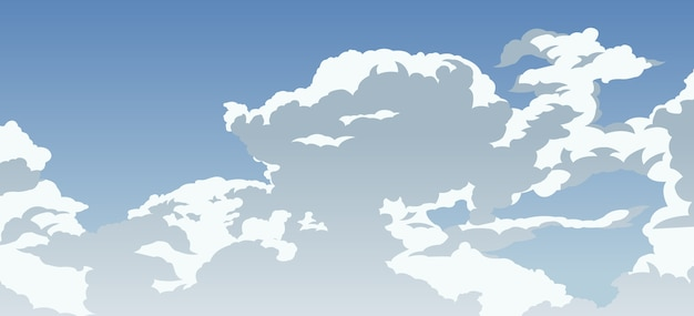 Cartoon-version des schönen bewölkten blauen himmels
