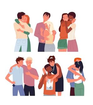 Cartoon vielfältige frau mann charakter zusammenstehen, junges paar von freundin und freund umarmen, liebe und freundschaft isoliert auf weiß. glückliche menschen freunde umarmen kuscheln.