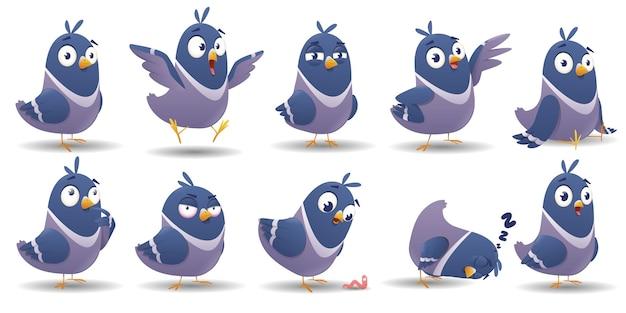 Cartoon vogel zeichensatz