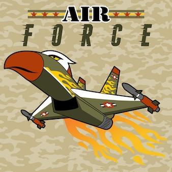 Cartoon von kampfflugzeug mit flamme auf camouflage-hintergrund