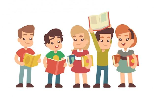 Cartoon vorschulkinder mit büchern. vektorkonzept lernen und stadying