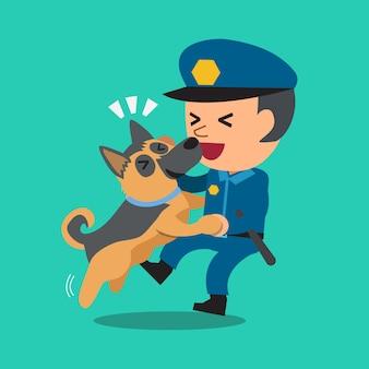 Cartoon wachmann polizist mit seinem wachhund
