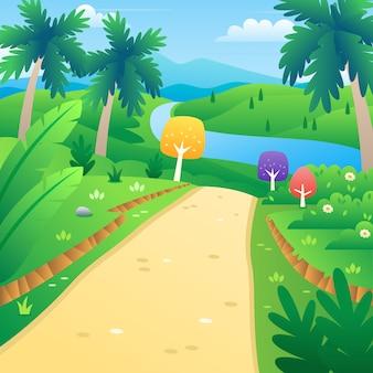 Cartoon Wald mit einem Fluss