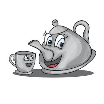 Cartoon-wasserkocher mit augen und einer tasse - vektor