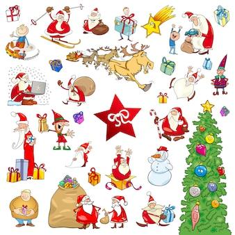 Cartoon weihnachten elemente festgelegt