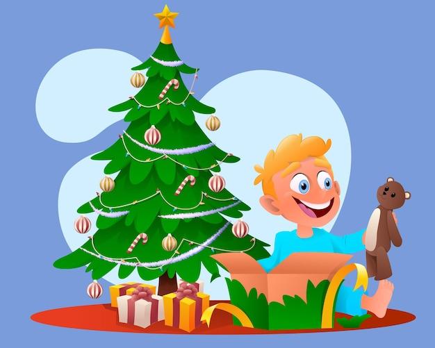 Cartoon weihnachten niedlichen jungen öffnet ein geschenk.