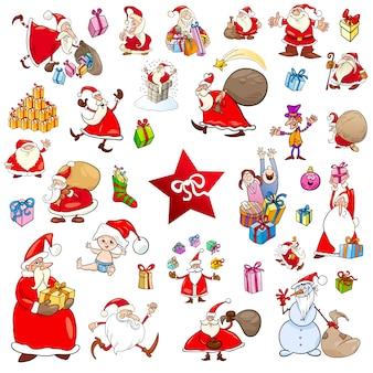 Cartoon weihnachten zeichen gesetzt