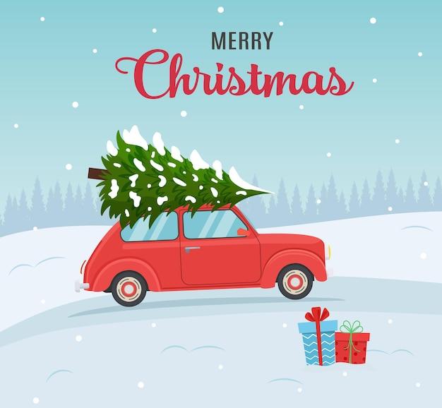 Cartoon weihnachts- und neujahrsgrußkarte. weihnachtskarte oder posterdesign mit retro-rot mit weihnachtsbaum an bord. vektorillustration im flachen stil