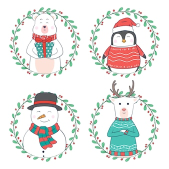 Cartoon weihnachtsfiguren oder tier mit kreis blumen