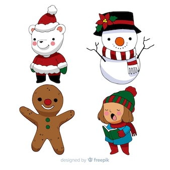 Cartoon weihnachtsfiguren packen