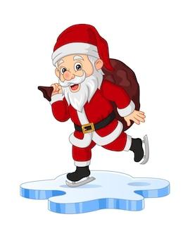 Cartoon-weihnachtsmann mit sack beim eislaufen