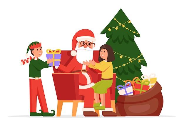 Cartoon weihnachtsmann und kinder
