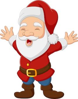 Cartoon weihnachtsmann winkende hand