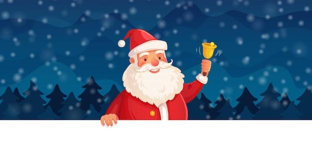 Cartoon weihnachtsmann. winterurlaub, guten rutsch ins neue jahr-rahmen für weihnachten
