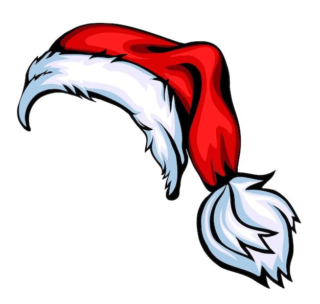 Cartoon weihnachtsmütze isoliert auf weißem vektor eps 10