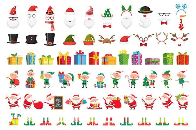 Cartoon weihnachtssammlung. weihnachtsmützen und neujahrsgeschenke. santa claus und elfen helfer charaktere gesetzt