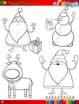 Cartoon weihnachtsthemen färbung seite