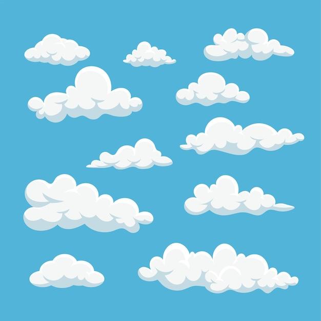 Cartoon weiße wolken icon-set isoliert auf blauem hintergrund premium-vektor