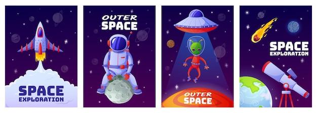 Cartoon-weltraumplakate universum mit astronautenrakete alien-ufo-planetensterne-vorlage