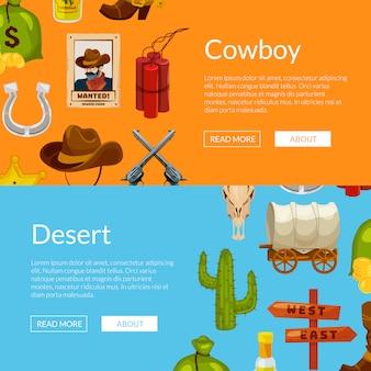 Cartoon wild west elemente web banner vorlagen illustration