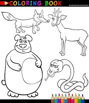 Cartoon wilde tiere für malbuch