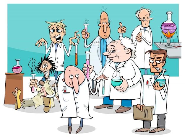 Cartoon wissenschaftler zeichen gruppe