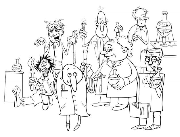 Cartoon wissenschaftler zeichen malbuch