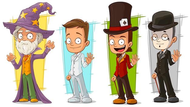 Cartoon wizard und mime-zeichensatz