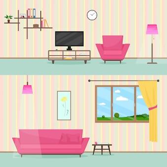 Cartoon wohnzimmer interieur