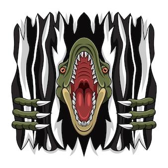 Cartoon wütendes raptor-maskottchen zerreißen