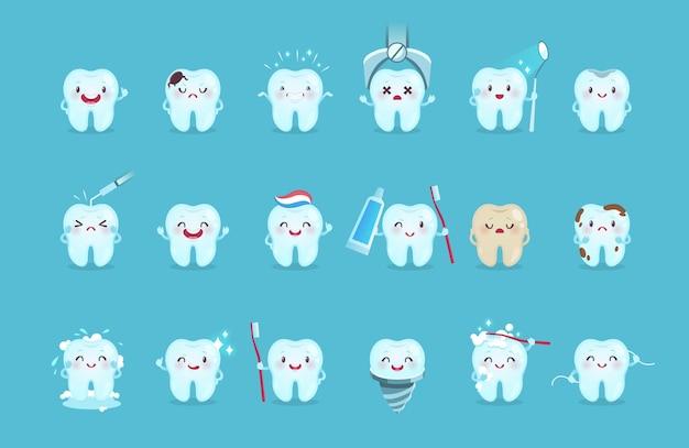 Cartoon-zähne. niedliche zahnfiguren mit verschiedenen emotionen und hygienewerkzeugen, zahnreinigung mit zahnpasta und zahnbürste, kindermundpflege kinderzahnklinik für postervektor isoliertes set