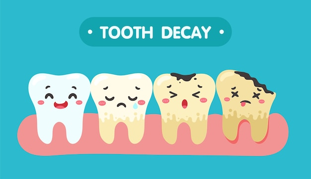Cartoon-zähne und zahnfleisch im mund sind mit dem problem der karies zufrieden. es gibt plaque auf den zähnen.